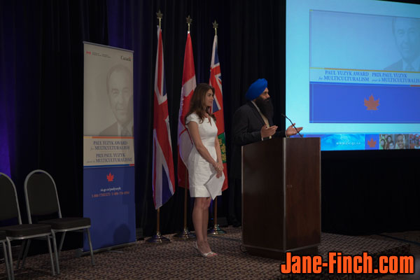 Master of Ceremonies Nazanin Afshin-Jam and MP Tim Uppal